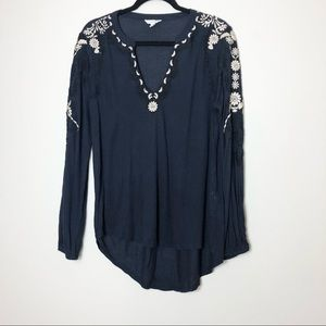 Lucky Brand Navy Embroidered Long Sleeve